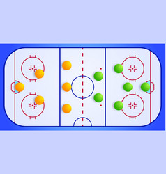 ice hockey sport field with a tactical scheme of vector image