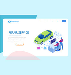 Isometric auto repair service station workers in vector