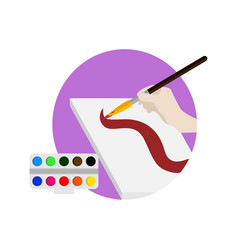 learn painting brush school cartoon graphic design vector image