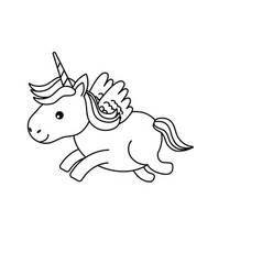 Line Cute Unicorn With Horn And Wings Design Vector