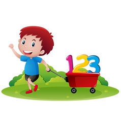Little boy pulling wagon with numbers vector