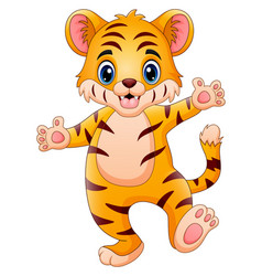 Little tiger make a happy vector