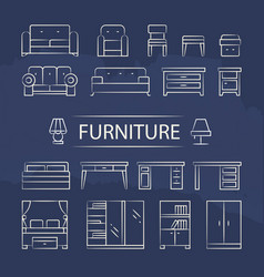 living room furniture and table lamps line icons vector image
