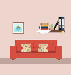 Living room with furniture workspace vector