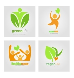 Logos set vegetarian vegan organic food diet vector