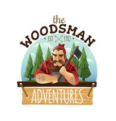 Lumberjack woodsman adventures logo icon vector