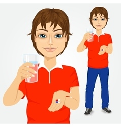 man taking pills with glass of water vector image