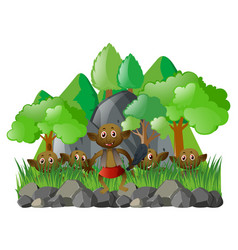many elves in the forest vector image
