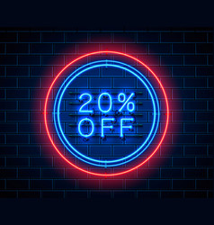 neon 20 off text banner night sign vector image