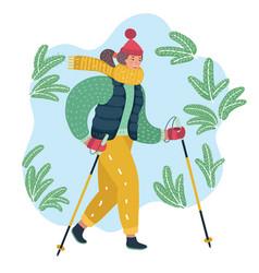 nordic walking woman vector image