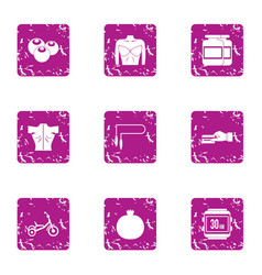 Physiological state icons set grunge style vector
