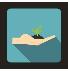 Plant in the hand icon flat style vector image