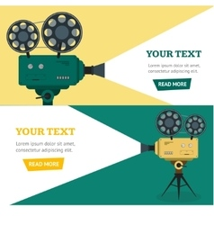 Professional Video Camera Banner Horizontal Set vector image