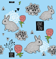 seamless pattern with cute little bunny and pink vector image