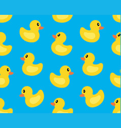 seamless pattern with yellow duck vector image