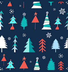 seamless winter pattern christmas trees vector image