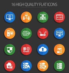 server 16 flat icons vector image