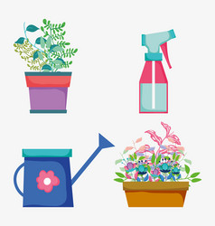 set flowers plants with leaves and watering bottle vector image