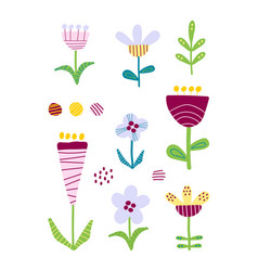 Set of cutout florals pretty colorful flowers vector