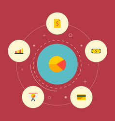Set of economy icons flat style symbols with pie vector