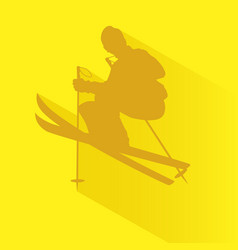 silhouette of a man playing ski vector image
