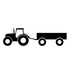Silhouette of a tractor with a trailer vector