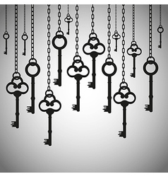 silhouettes of old keys hanging chain links vector image