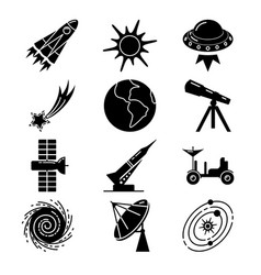 Space silhouette icons set in flat style vector