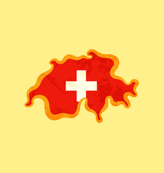 Switzerland - map colored with swiss flag vector