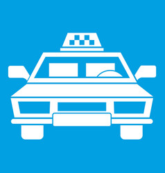 Taxi car icon white vector