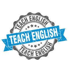 Teach english stamp sign seal vector