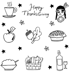 Thanksgiving flat hand draw in doodle vector