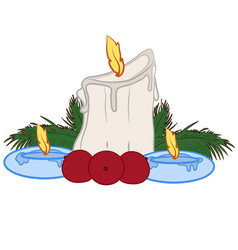 Three christmas candles vector