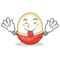 Tongue out rambutan mascot cartoon style vector
