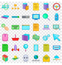 Translation icons set cartoon style vector