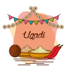 Ugadi set greeting card pot coconut flowers of vector