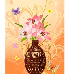 vase of flowers with butterflies vector image