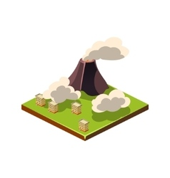 Volcano Eruption and Ash Natural Disaster Icon vector