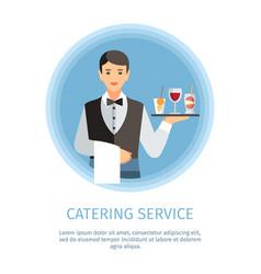 waiter serving wine and cocktails banner template vector image