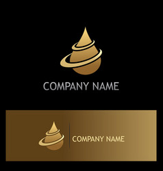 Water drop oil gold logo vector