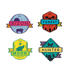 Wild bizon and hunter moon and forest set logo vector