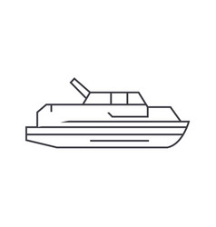 yacht thin line icon concept yacht linear vector image