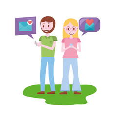 young couple with speech bubbles avatar character vector image