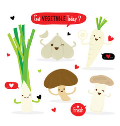 vegetable cartoon cute mushroom garlic leek vector image
