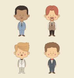 Color background of set four groom man in wedding vector