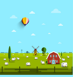 farm with cows on field rural scene vector image