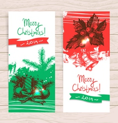Hand drawn set of Christmas banners vector image vector image
