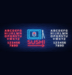 neon sign logo sushi bar asian fast-food vector image vector image