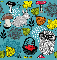 seamless background with cute rabbit and clever vector image vector image