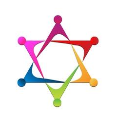 Teamwork star logo vector image vector image